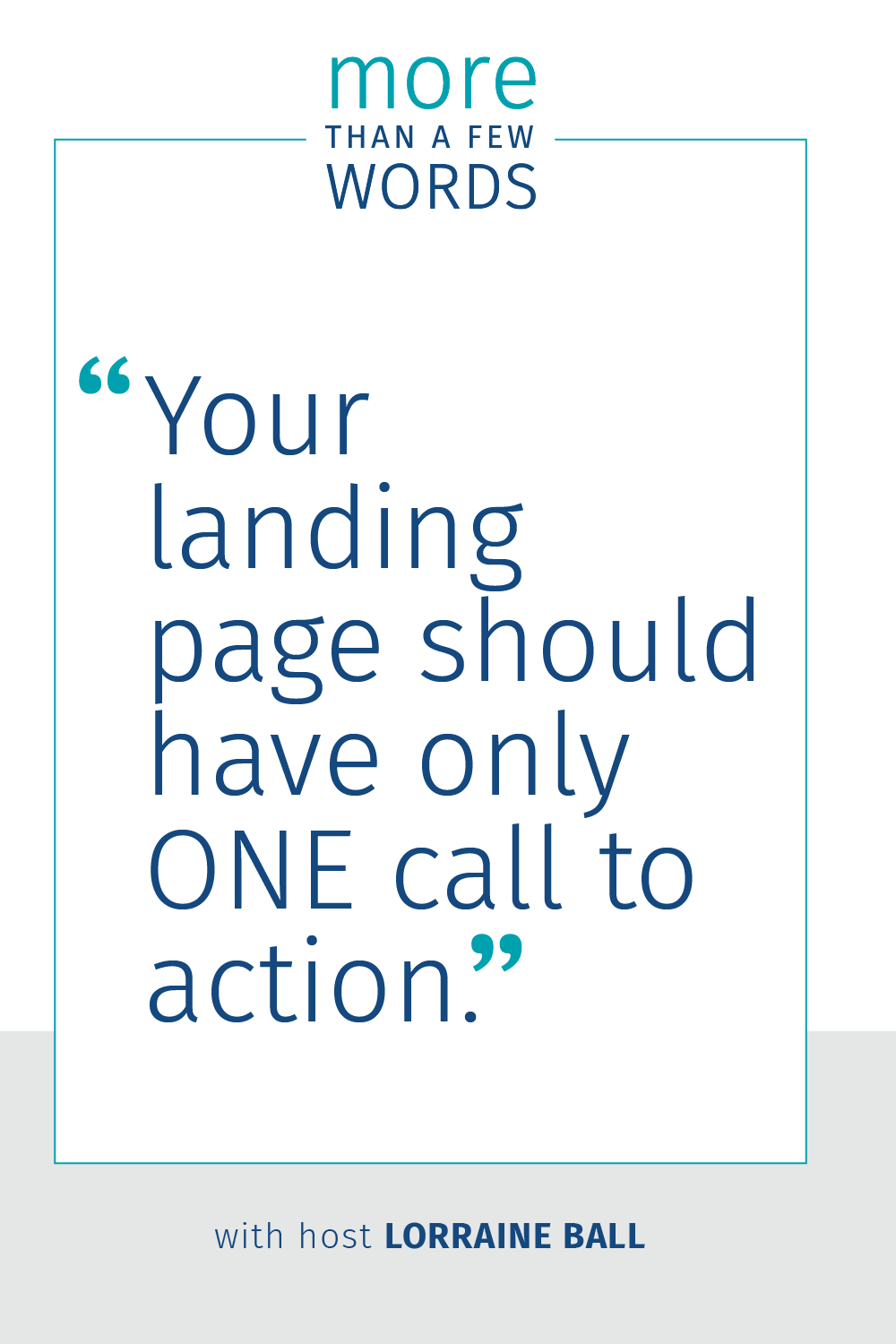 YOur landing page has one job