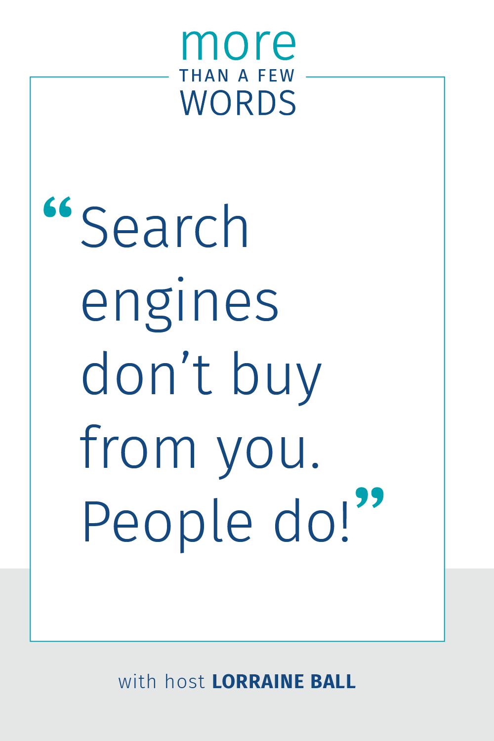 Content based seo  Search engines don't buy from you, people do